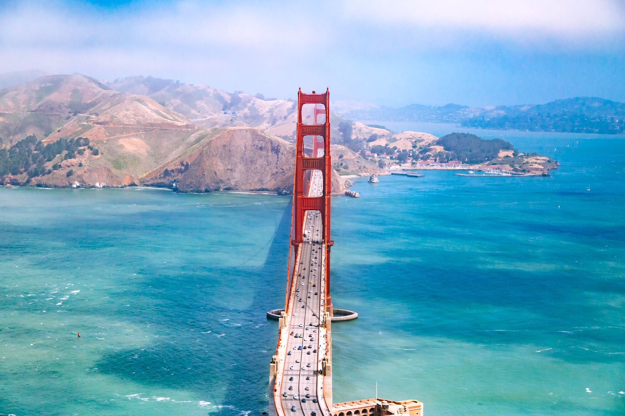 Aerial View of Golden Gate Bridge, San Francisco