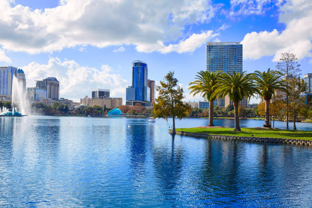 Orlando skyline fom lake Eola in Florida USA with palm trees
