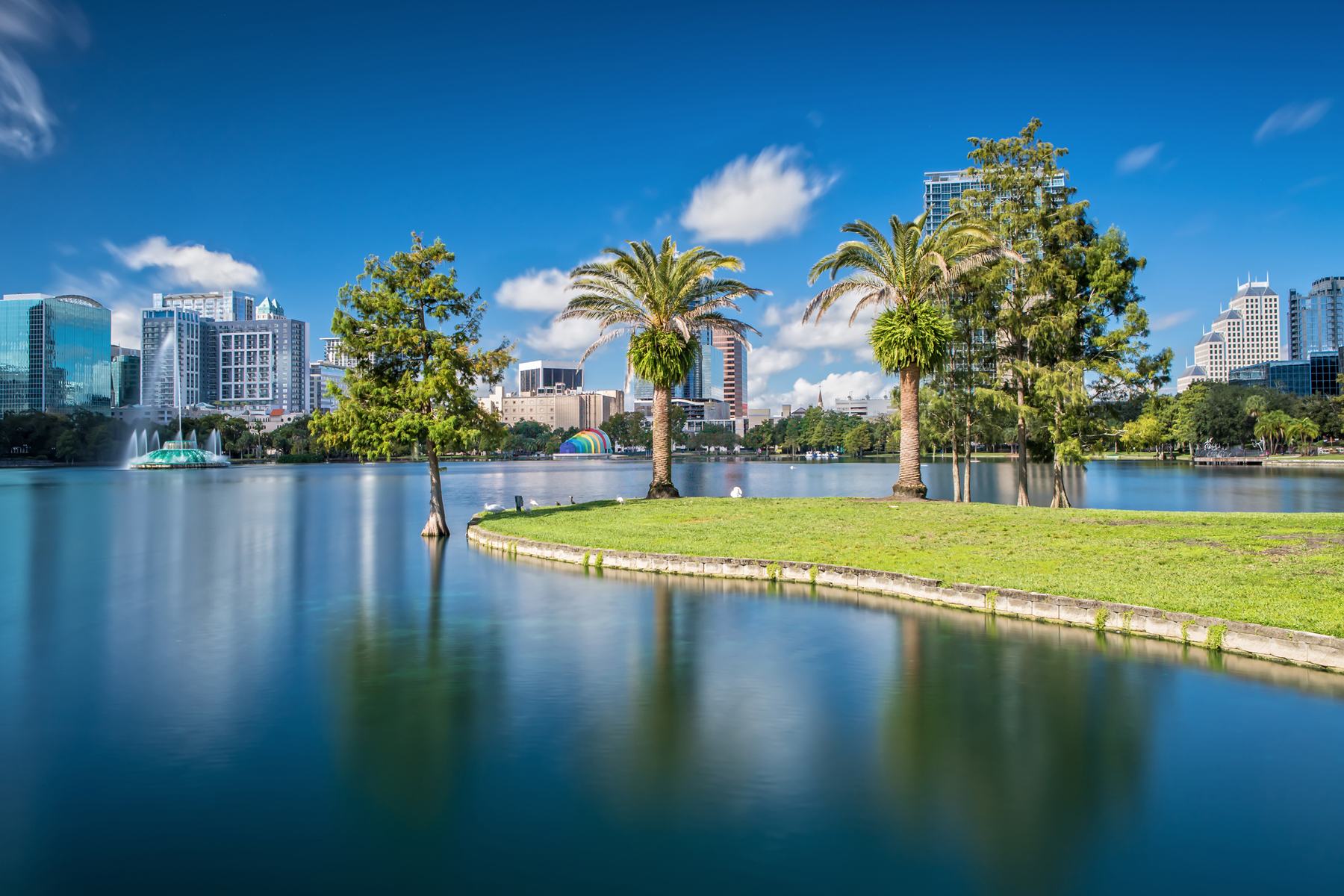 Downtown Orlando from Lake Eola Park on a beautiful sunny Day